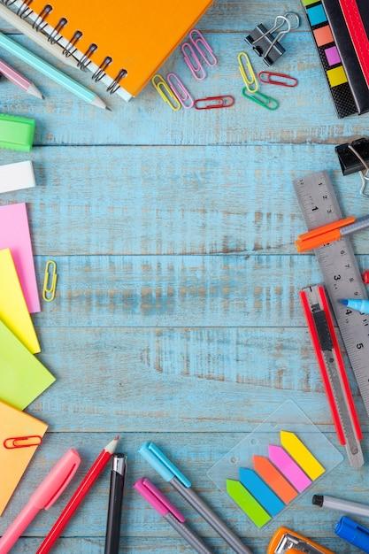 School or office tools on vintage wood table Free Photo