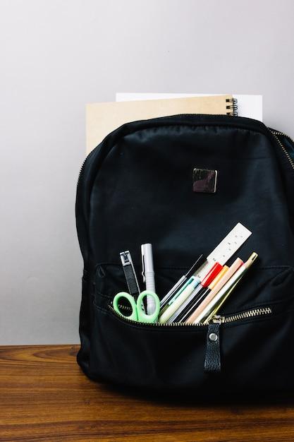 School rucksack with supplies Free Photo