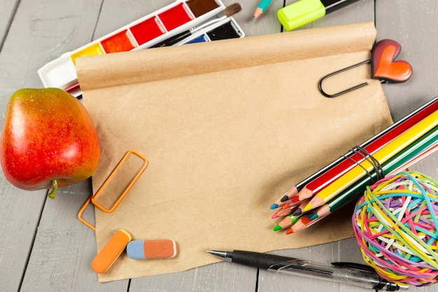 School stationery close-up Premium Photo