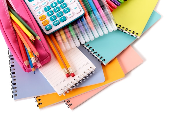 School stationery with accessories Free Photo