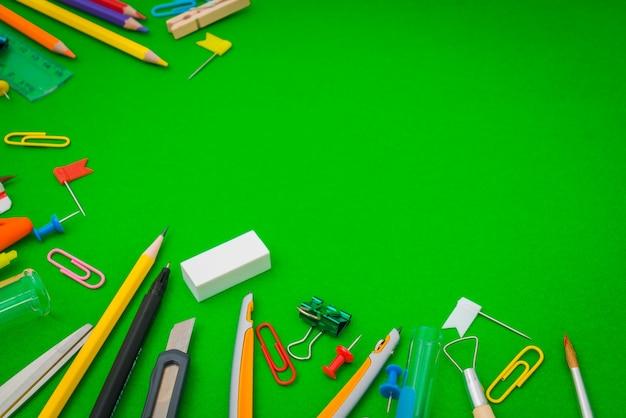 School Supplies On Green Chalkboard Quot Back To School