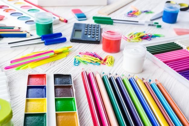 School supplies on a white background Premium Photo