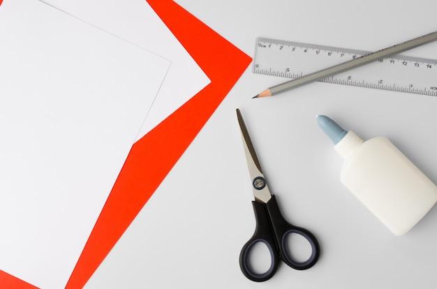 School supplies on white table Premium Photo
