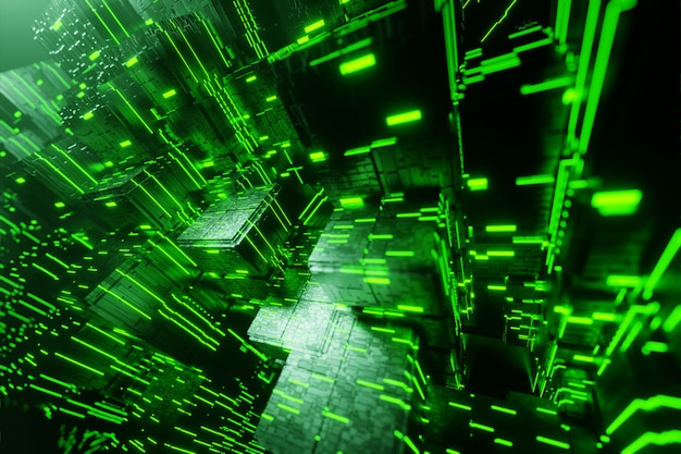Научно-фантастический город футуристический поток передачи данных передачи данных в цифровой технологический туннель анимации 3d-рендеринга Premium Фотографии