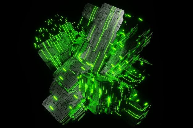 Научно-фантастический куб футуристический поток передачи данных передачи данных в цифровой технологической анимации 3d-рендеринга Premium Фотографии