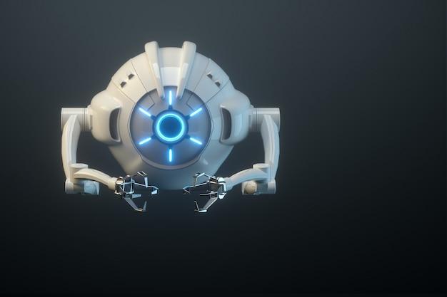 Sci fi фантастический летающий дрон с камерой или футуристическая сборочная машина, изолированные на черной стене. технологии будущего, искусственный интеллект. 3d визуализация, 3d иллюстрации. Premium Фотографии