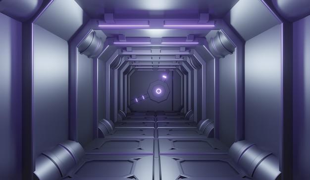 Sci-fi futuristic technonogy tunnel with purple neon background. Premium Photo