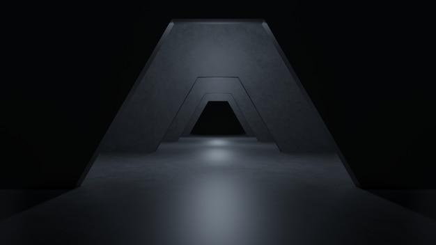 Sci fi room modern dark concrete cement. Premium Photo
