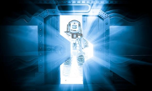 Sci-fi scene, astronauts in spacecraft Premium Photo