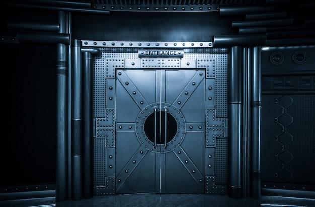 Sci-fi scene, spacecraft metal gate Premium Photo