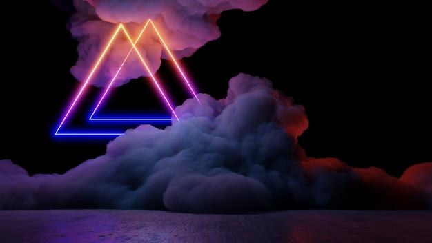 Sci fi仮想現実風景サイバーパンクスタイル3 dレンダリング、ファンタジーの宇宙と宇宙雲の背景 Premium写真