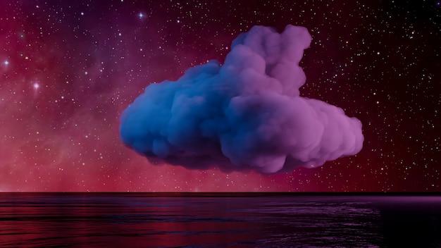 Sfバーチャルリアリティ風景サイバーパンクスタイルの3dレンダリング、ファンタジー宇宙と宇宙雲の背景 Premium写真