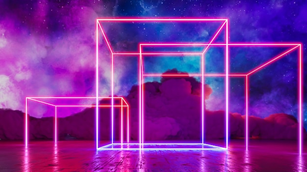 Sci fi virtual reality landscape cyberpunk style 3d render, fantasy universe and space cloud background Premium Photo