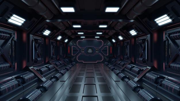 Научный фон фантастический интерьер рендеринга научно-фантастических коридоров космического корабля на красный свет. Бесплатные Фотографии