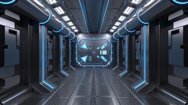 Science background fiction interior room sci-fi spaceship corridors blue Premium Photo