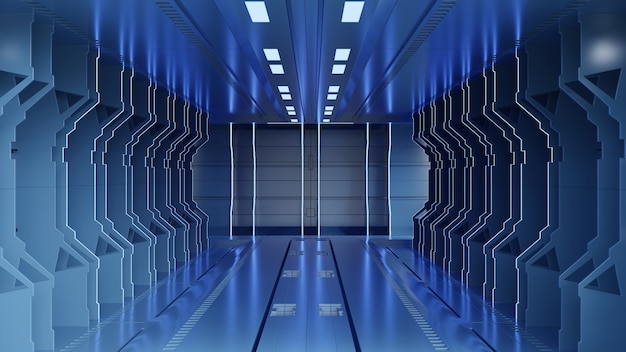 Science fiction interior rendering sci-fi spaceship corridors blue light, 3d rendering Premium Photo