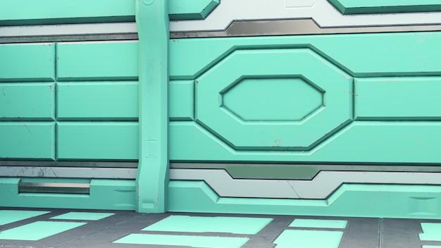 Science fiction interior room sci-fi spaceship corridors orange ,3d rendering Premium Photo