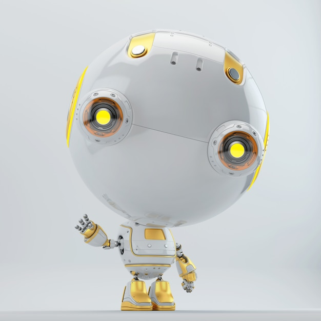 Science fiction robot character in 3d Premium Photo