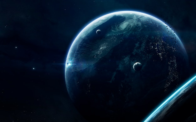 Science fiction space wallpaper, incredibly beautiful planets, galaxies, dark and cold beauty of endless universe. Premium Photo