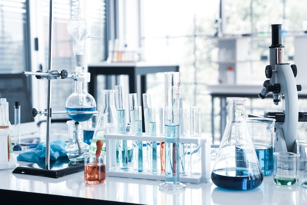 Science instruments in laboratory room. science research concept. Premium Photo