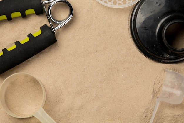 Scoops filled with protein powders for fitness nutrition to start training Premium Photo