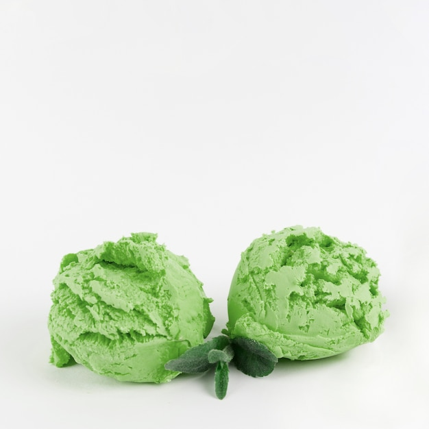 Scoops of luscious green ice cream Free Photo