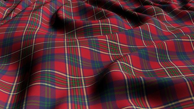 スコットランドの格子縞の緑赤の市松模様の古典的なタータンチェックのシームレスな生地3 dレンダリング。 Premium写真