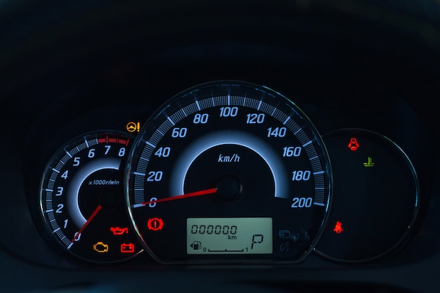 Screen display of car status warning light on dashboard panel symbols which show the fault indicators Premium Photo