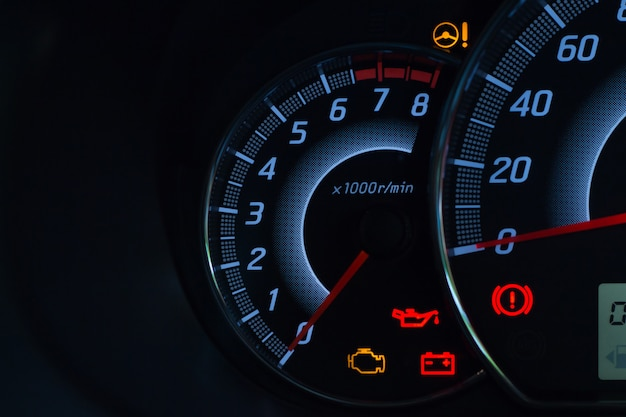 Screen display of car status warning light on dashboard panel symbols Premium Photo