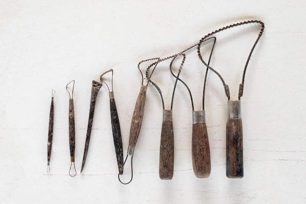 Sculpture tools. art and craft tools on a white background. Premium Photo