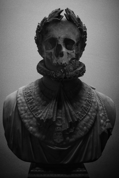 Sculpture with skull face in black and white Free Photo
