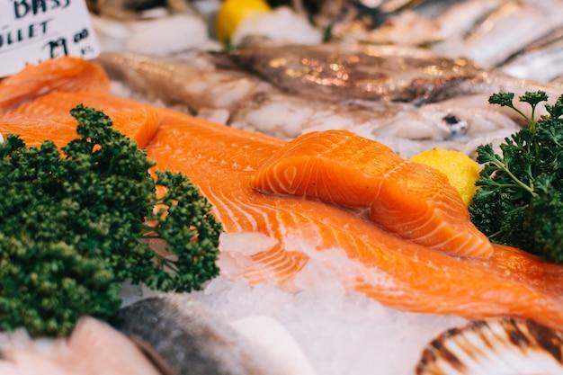 Sea bass fillets at fish market Free Photo