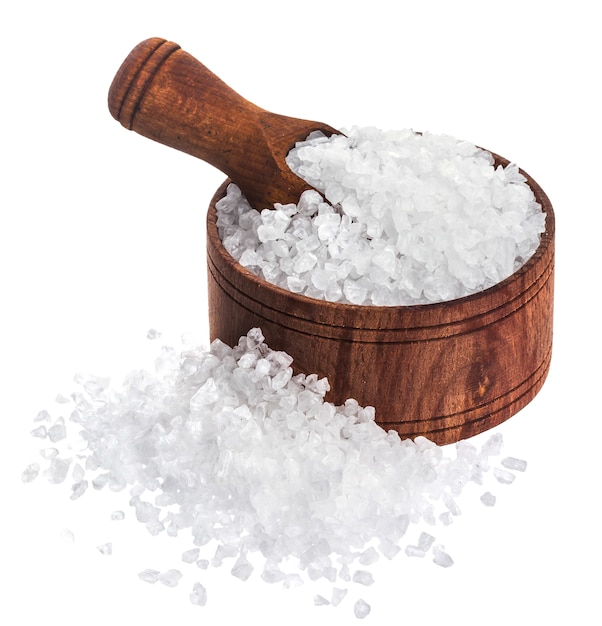 Sea salt isolated on white background closeup Premium Photo