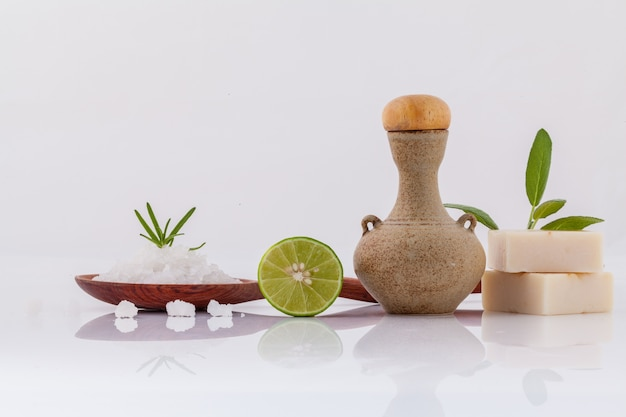 Sea salt natural spa ingredients isolate on white background. Premium Photo