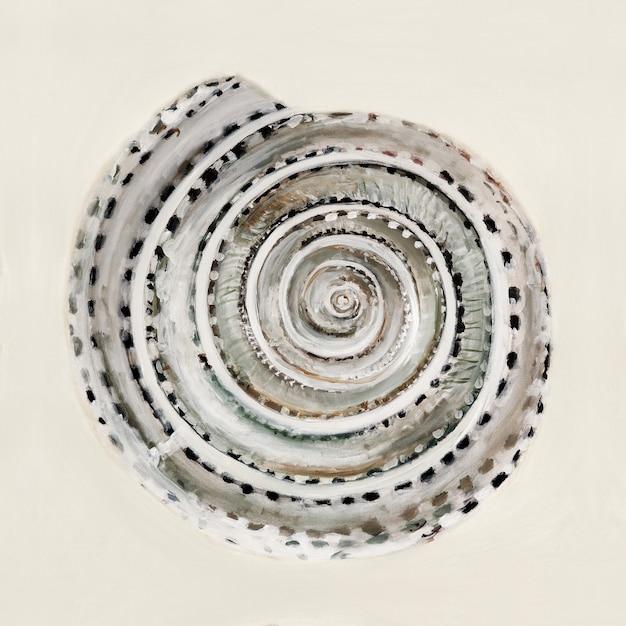 パステルカラーの海のシェル-油絵 無料写真