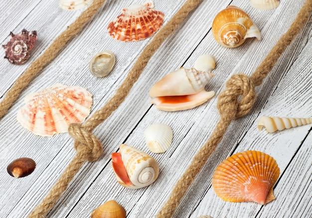 Морские раковины и веревки на легкий деревянный стол Premium Фотографии