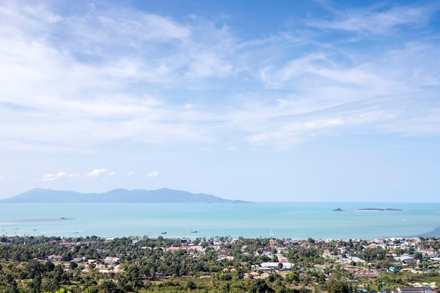 Sea view on mountain with clouds and blue sky Premium Photo