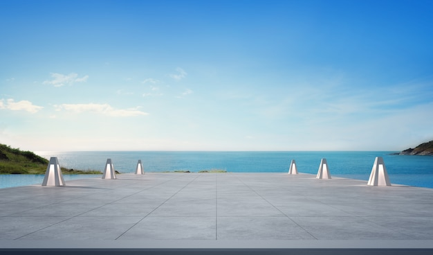 Sea view swimming pool and empty terrace in modern luxury beach house Premium Photo