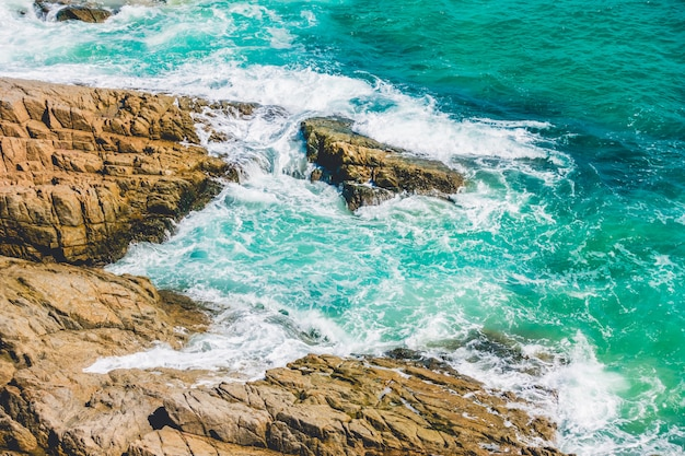 Sea wave with rock Free Photo