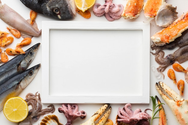 Seafood mix aligned beside frame Free Photo