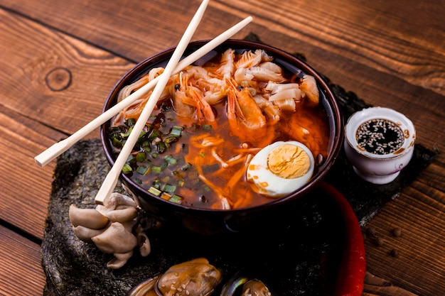 Seafood and vegetables ramen topview Free Photo