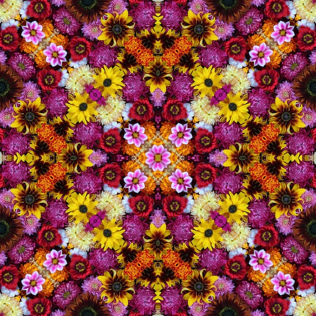 Seamless background from flowers. effect of a kaleidoscope. Premium Photo