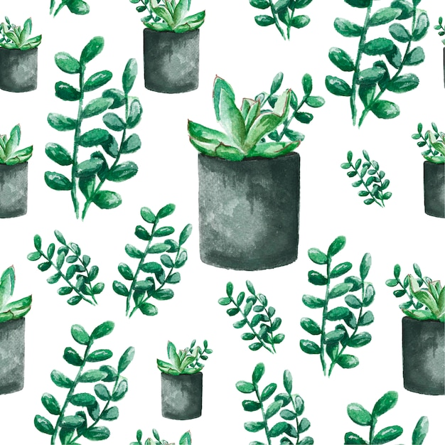 Seamless background with watercolor cactus and succulent. watercolor illustration for textiles, fabric and pattern. Premium Photo