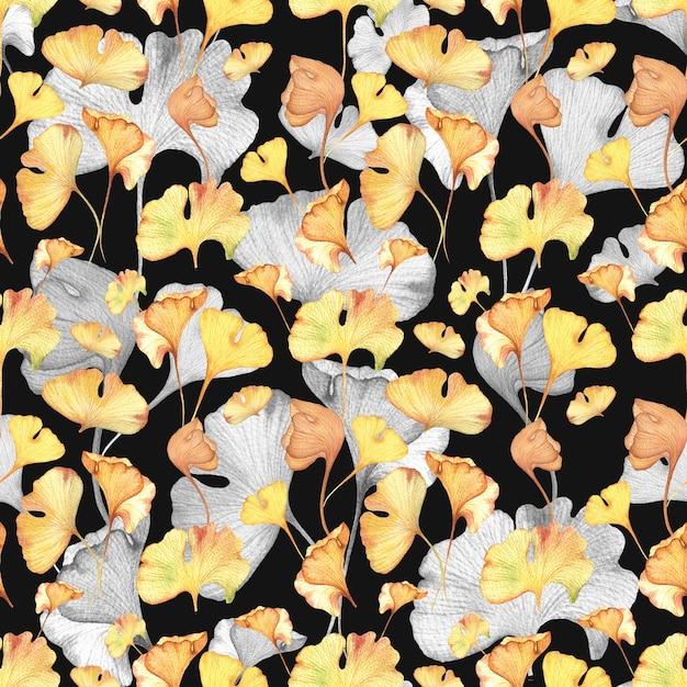 水彩風のシームレス花柄手描き下ろしパターン Premium写真
