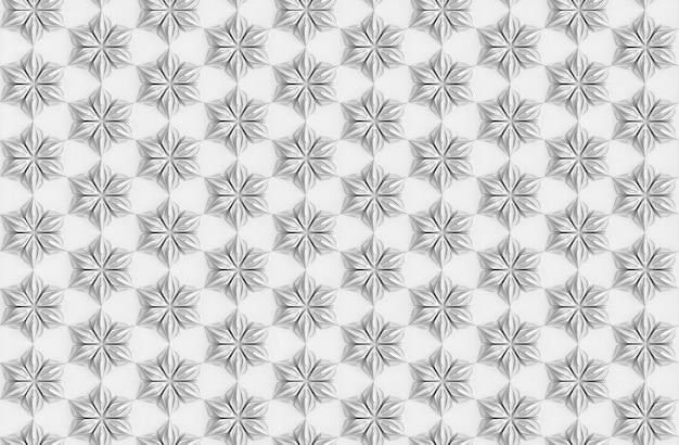 Seamless light texture of three-dimensional elegant flower petals based on hexagonal grid 3d illustration Premium Photo