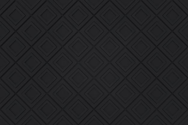 Seamless modern black diangonal square pattern grid blocks wall background. Premium Photo