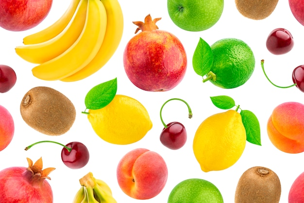 Seamless pattern of different fruits and berries Premium Photo