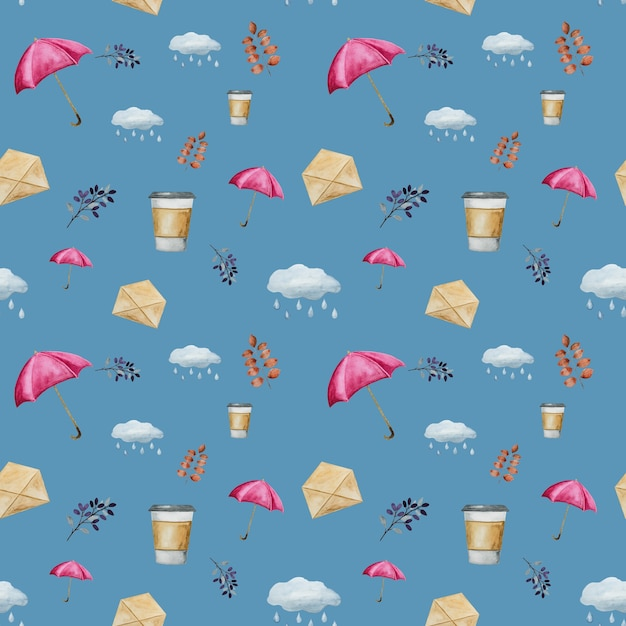 水彩風のシームレスパターン Premium写真