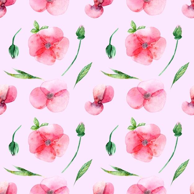 수채화 꽃, 꽃 봉 오리와 분홍색 배경에 잎의 완벽 한 패턴입니다. 결혼식 인쇄, 선물, 엽서, 직물. 프리미엄 사진