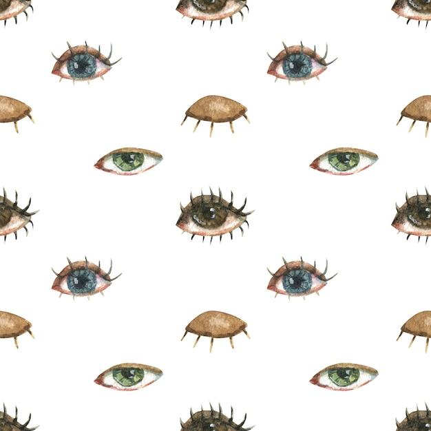 Lgbtのトピックに関するシームレスなパターン。別の女性の目のイラスト。 Premium写真
